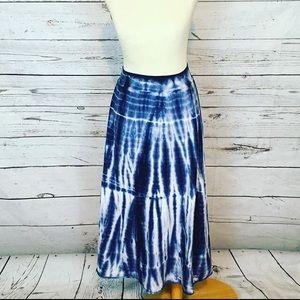 Tryst blue tie dye maxi skirt